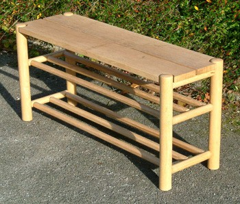 Ash and oak shoe bench